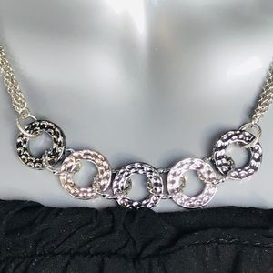 Lia Sophia  Necklace Hammered Textured Silver Tone